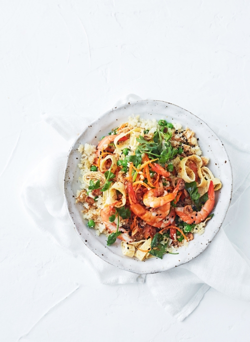 CAULIFLOWER FRIED RICE WITH PRAWNS