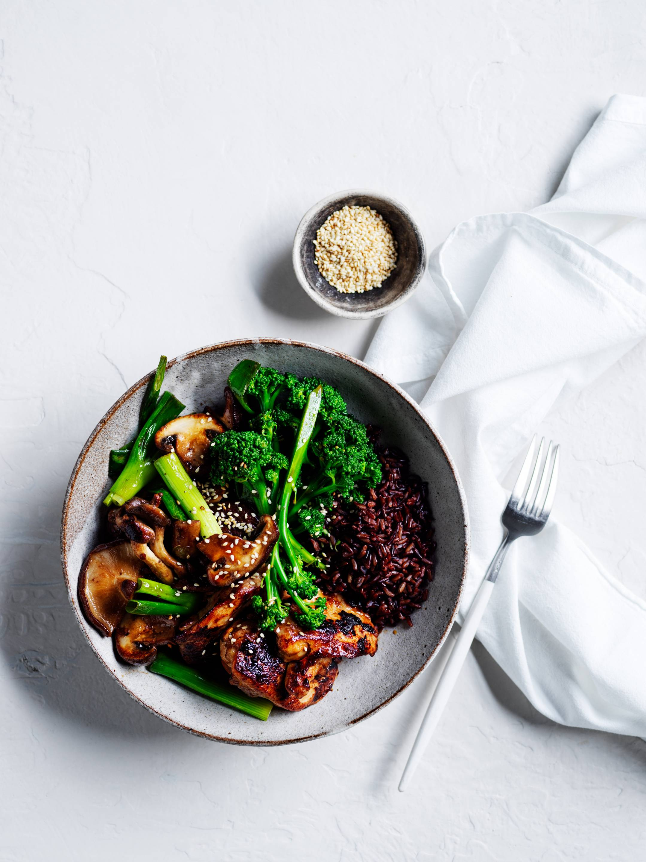 MISO CHICKEN BLACK RICE BOWL