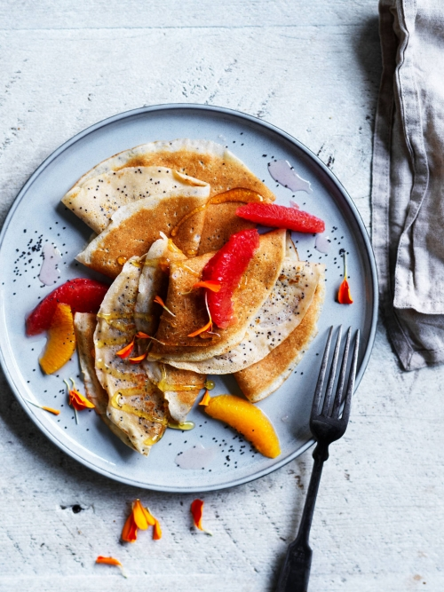 poppyseed crepes with citrus fruits
